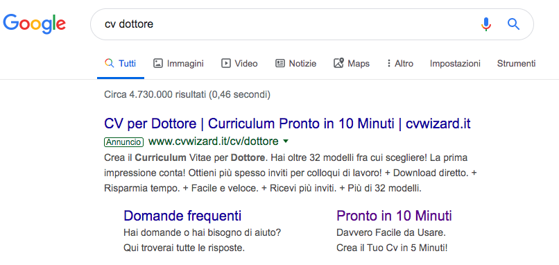 Italian google ads ppc example